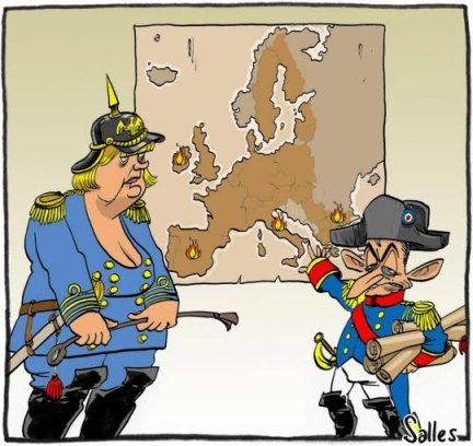 l-euro-est-a-la-derive-l-europe-dans-la-tourmente-le-couple-franco-allemand-s-efforce-de-trouver-des-solutions-pour-sortir-de-la-crise-qui-met-a-mal-les-economies-et-les-bourses-en-vain-semble-t-il-dessin-salles