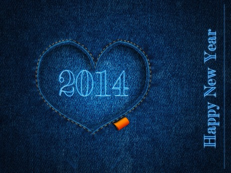 blue jeans background with heart Happy New Year 2014