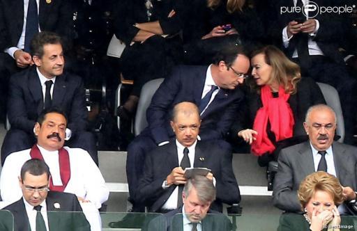 Sarkozy Hollande Trierweiler Obsèques de Nelson Mandela