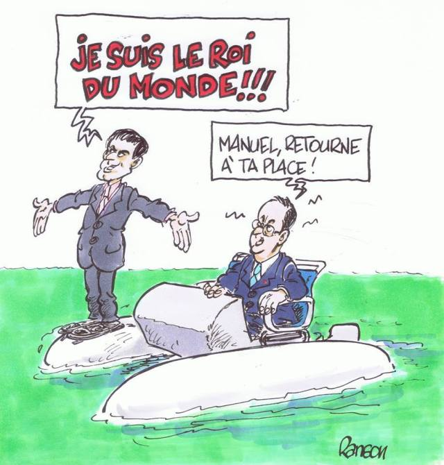 François Hollande Manuel Valls Pedalo Matignon #Miuncipales2014