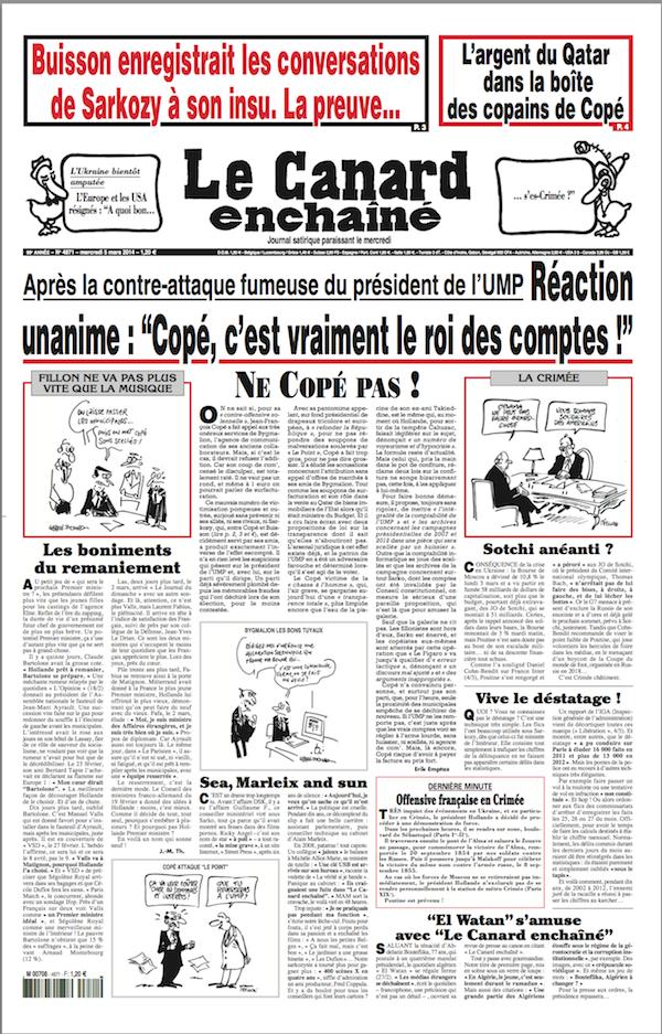 une_canard_05032014-S France Buisson Copé Qatar