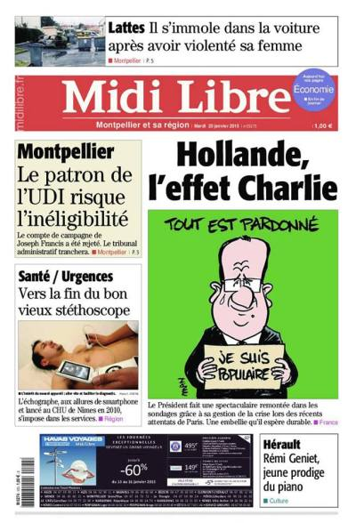 Midi Libre 20 janvier 2015 Une Man François Hollande #JeSuisCharlie