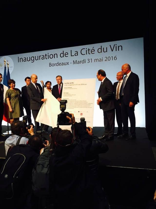 Inauguration de la Cité du Vin Bordeaux Hollande Juppé 31 Mai 2016