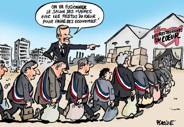 Macron Restos du Coeur Salon des Maires Placide